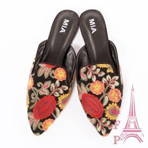 Mia Floral embroidered pointed toe mules shoes